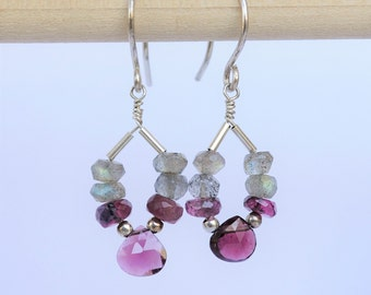 Small Gray & Pink Gemstone Earrings