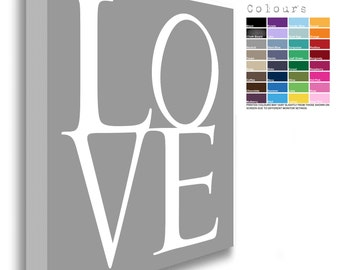 LOVE Canvas Chunky Framed White Text  (32 Background Colours Available)