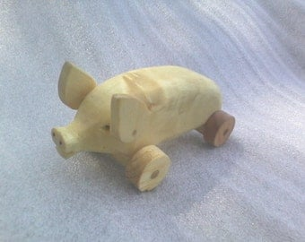 Wooden toy pig