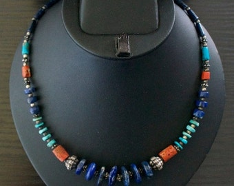 ON SALE Alluring TURQUOISE Coral Lapis Lazuli Silver Necklace