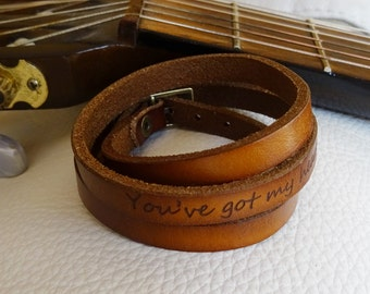 Personalized engraved leather wrap bracelet unisex to be customized with quote or love words