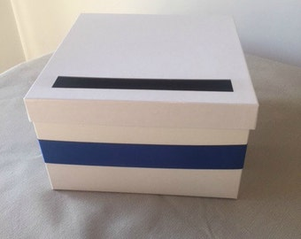 White Deluxe Wedding Card Box With Ribbon 14x14x6