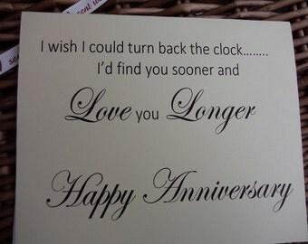 Wedding anniversary, Anniversary card, wedding anniversay card, handmade card, marriage card, turn back the clock,