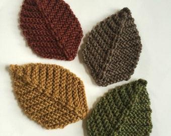 READY TO SHIP Knit Leaf Coasters, Fall Coaster Set, Fall Decor, Drink Coasters, Knit Leaves
