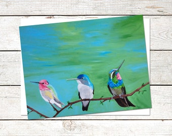 Hummingbird Note Cards, 6 x 4.5, Original Acrylic Painting, Bird Cards, Blank Note Cards, colorful note cards