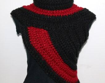 Funky COWL-VEST, Red and Black, chunky crochet, knitted, warm, festival, huntress cross-body, Katniss cowl, vest, neck warmer, collar
