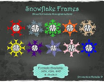 Snowflake Frames in .SVG .EPS .DXF & .Studio3 formats Craft Cut Die Cutters Digital Vector Files Instant Download