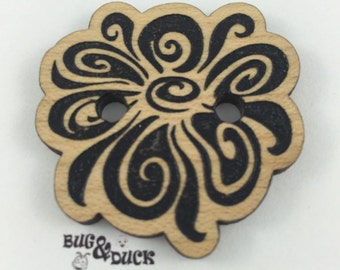 Flower wood button / Laser engraved / Various sizes / solid wood
