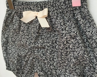 Baby bloomers shorts elastic floral black white monochrome nappy cover