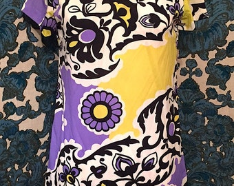 Vintage 1960s Flower Power Psychedelic Mod Mini Dress Twiggy Festival Retro Novelty Print dress