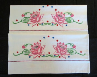 A Pretty Pair of Hand Embroidered Pillowcases with Water Lilies