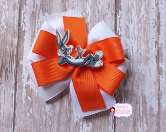 Bugs Bunny Hair Bows,Bugs Bunny Bows,Bugs Bunny Birthday,Orange and White Bugs Bunny Hair Bow,Pinwheel Hair Bows,Looney Tunes Hair Bows.