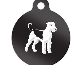 Airedale Engraved Round Key Chain Dog Tag terrier - MRD-376