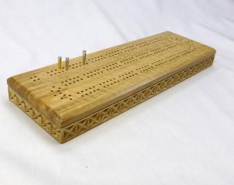 Cribbage board   custom Cribbage board   unique Cribbage board   oak Cribbage board