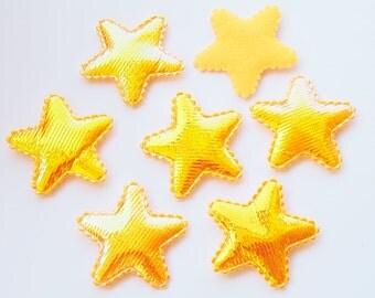 50 Pcs -  37 mm Shiny Orange Fabric Stars Padded Appliques Embellishment Decorations - ERW.35