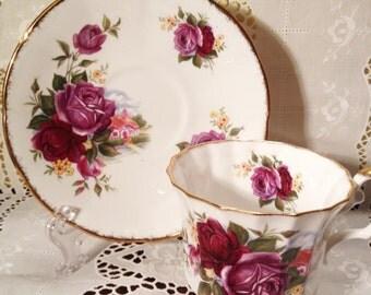Vintage Elizabethan Fine Bone China Floral Tea Cup and Saucer Set Made in England Purple Roses