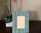 Decoupage turquoise wood pattern, rustic picture frame - 4x6 - Gift - Christmas - Holiday