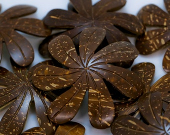 "Brown 3"" carved coconut tiare pendants"