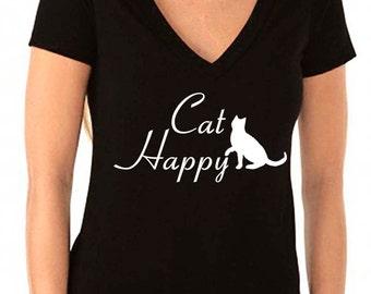 cat shirt - cat tshirt - cat t shirt - cat lover gift - cat lady - cat gifts - animal shirt - womens shirts - funny shirts - deep v neck