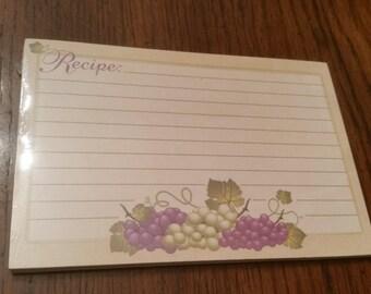 90s Vintage Recipe Cards / Grapes / Grapevine / Grapes Recipe Cards / Wine  Recipe Cards / Winery / Grape / Purple Grapes / Paper / CIJ/Rare