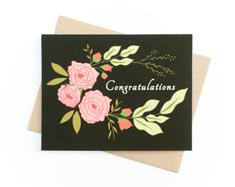 Card, Congratulations Card, Blank card, Boho, Floral, Hand drawn botanical card