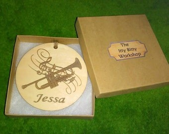 Trumpet Personalized Engraved Christmas Ornament