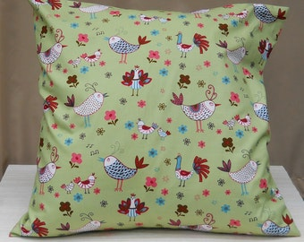 Cotton Green Cushion Cover with Chicken Pattern