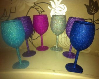 set of 6 glitter glasses