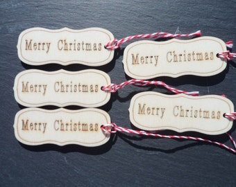 Merry Christmas Wood Tags, Happy Christmas Wood Tags, Christmas Tags, Wood Tags.
