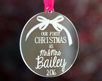 Glass Christmas Tree Ornament, Family Name Ornament, Personalized Christmas Gift, Our First Christmas Engaged, Glass Christmas Ornaments