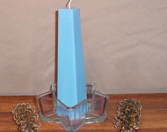 one tapered square blue pillar candle