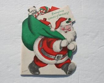 Vintage Marjorie Cooper Santa Claus Card, Die Cut Santa Claus Christmas Card, 1950s 50s USED Cute Christmas Card, Scrap Booking