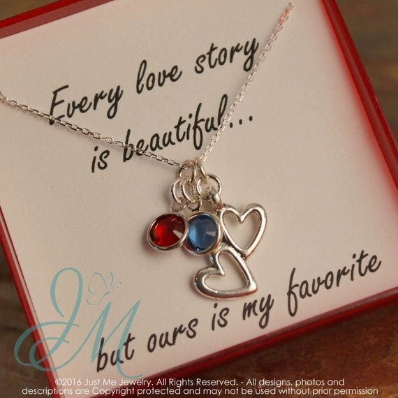 Anniversary Necklace - Our Love Story - Heart necklace with birthstones