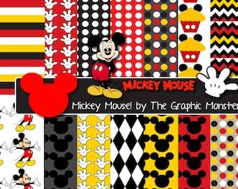 Mickey Mouse Scrapbook Paper, Digital Paper Mickey Mouse, Disney Scrapbook Paper, Mickey Mouse Digital Paper, Instant Download, Disney Paper