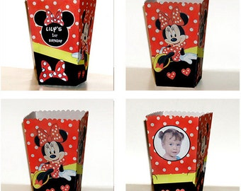 Minnie Mouse Black /red birthday photo POPCORN boxes (Set of 10)