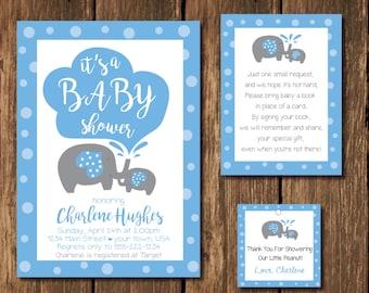 Baby Shower Invitation, Boy Baby Shower Invitation, Blue Baby Shower Invitation, Elephant Baby Shower Invitation