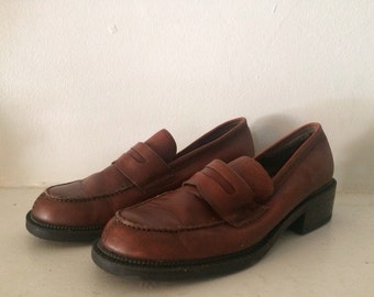 Chunky Heel 90s Leather Loafers