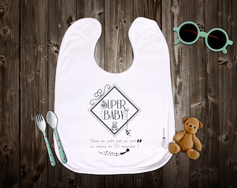 """Original bib mixed customizable """"Super baby..."""" Birth gift. Baby gift. Text and graphics by Piou creations."""