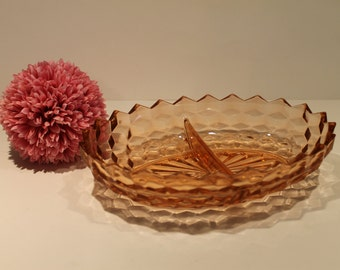 Pink Depression Glass - Jeannette Glass co. - Oval Divided Dish - Cubist Pattern - Pink Serving Dish