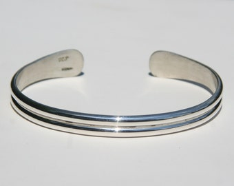 Double Half Round Cuff Sterling Silver - Sterling silver cuff bracelet - simple cuff