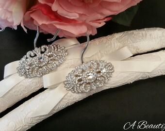 Elegant Lace Bridal Hanger with Crystal Brooch