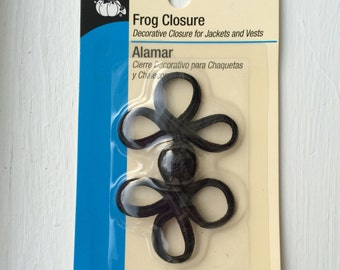 "New Black Frog Closure 2-3/4"" Long by Dritz 100% Nylon"