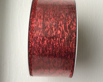 """New Red Glittery Decorator Ribbon 1-5/8"""" wide x 5 yards long"""