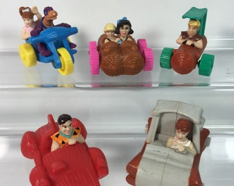Vintage Set of 5 Flintstones McDonald's Happy Meal Play car toys