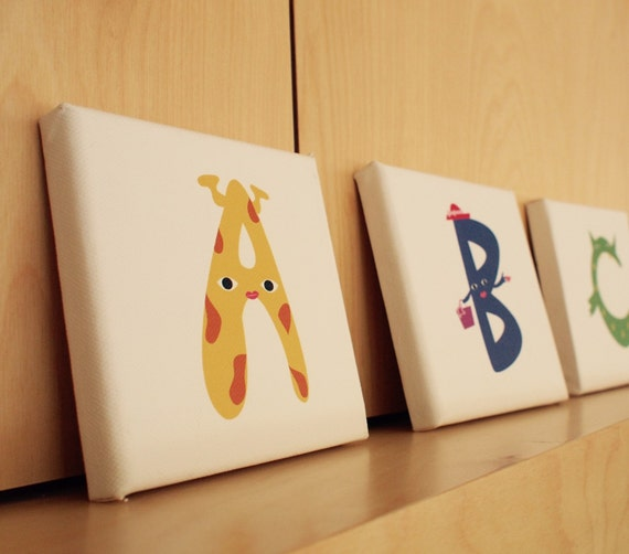 Items similar to alphabet canvas letter a home wall for Babies r us wall letters