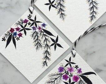 Hand-painted floral gift tags