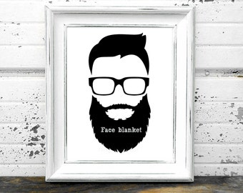 Beard Printable, #Face,#Beard,#Hair,#Joke,#Gag,#Humor,#BlackandWhite,#Glasses,#Art,#Print,#Modern,#Hip,#Hipster,#Man,#Men,#Urban,#Retro,#DIY