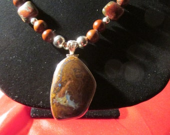 "Sale Sale Handmade Agate Necklace  with Boulder Opal Pendant Set in Sterling 925 23"" long"
