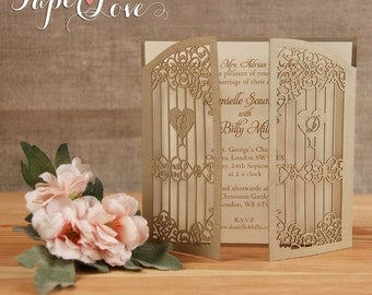 Handmade Square Gold Intricate Laser Cut Personalised  Gatefold Day Wedding Invitation with Envelope