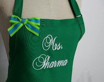 Green Apron - Personalized Aprons - Mrs. Sharma  Apron - Women's Ladies girls Aprons -Custom Embroidery .